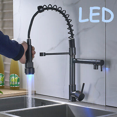 Kitchen Sink Faucets LED Pull Down Oil Rubbed Bronze Deck Mounted Mixer Tap