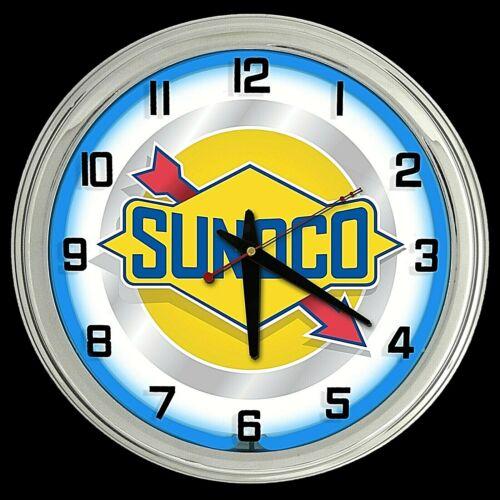 "16"" Sunoco Vintage Sign Blue Neon Clock Gasoline Motor Oil Gas Man Cave Garage"