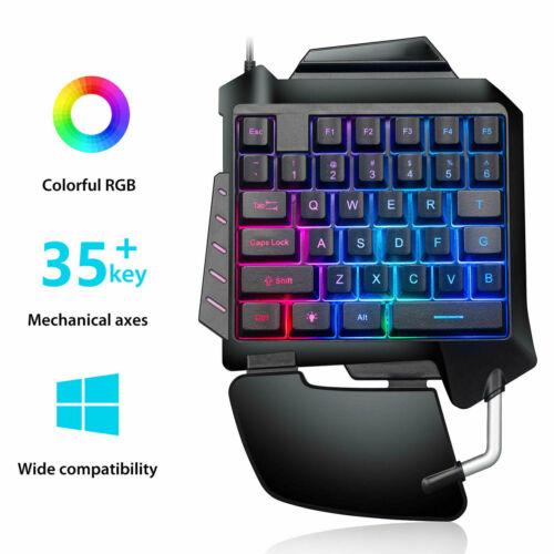 Gaming Ergonomic One-Handed Keyboard Left Hand Keypad LED RG
