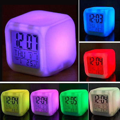 LED Colors Night Light Child Kids Alarm Clock Thermometer Digital Time Date