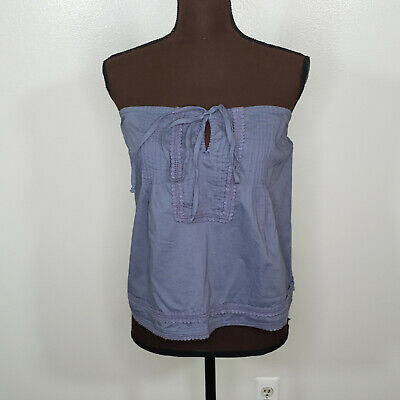 Abercrombie Fitch Blue Tube Top Size Large Elastic Lace Trim Keyhole Tie Pintuck