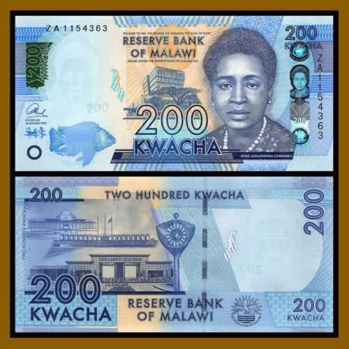 "Malawi 200 Kwacha, 2016 P-60c Replacement ""ZA"" Unc"