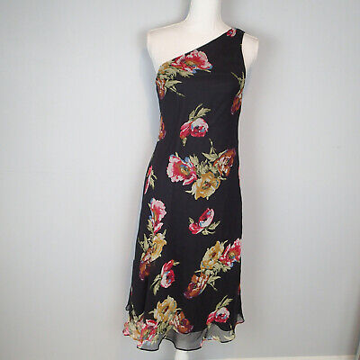 Ralph Lauren One Shoulder Black/Floral Dress Size 8, 100% Silk Party ad