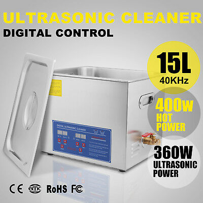 Ultrasonic Cleaner 15 L Liter Stainless Steel Industry Heated Clean Glasses
