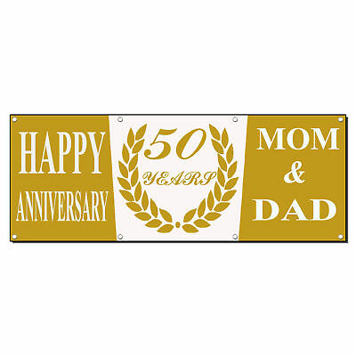 Happy Anniversary! 50Th Years Mom & Dad Gold Vinyl Banner Sign With - Happy Anniversary Signs