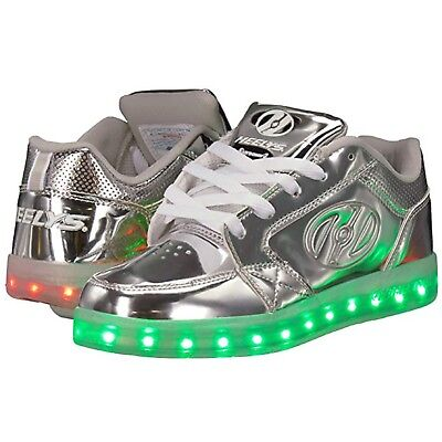 Heelys Led Premium 1 Lo Light Up Shoes - Silver Chrome Heelys led roller shoes Lo Roller Schuhe