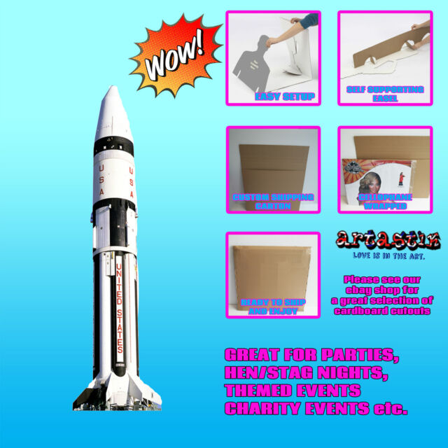 ROCKET REAL SPACE CRAFT LIFESIZE CARDBOARD CUTOUT STANDEE STANDUP SC138