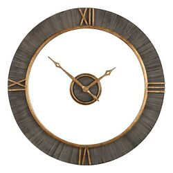 Mid Century Modern Open Wood Wall Clock | Gold Floating 39 Hanging