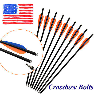Archery Crossbow Bolts Fiber Glass Arrows for Target Hunting Outdoor 18-20 inch