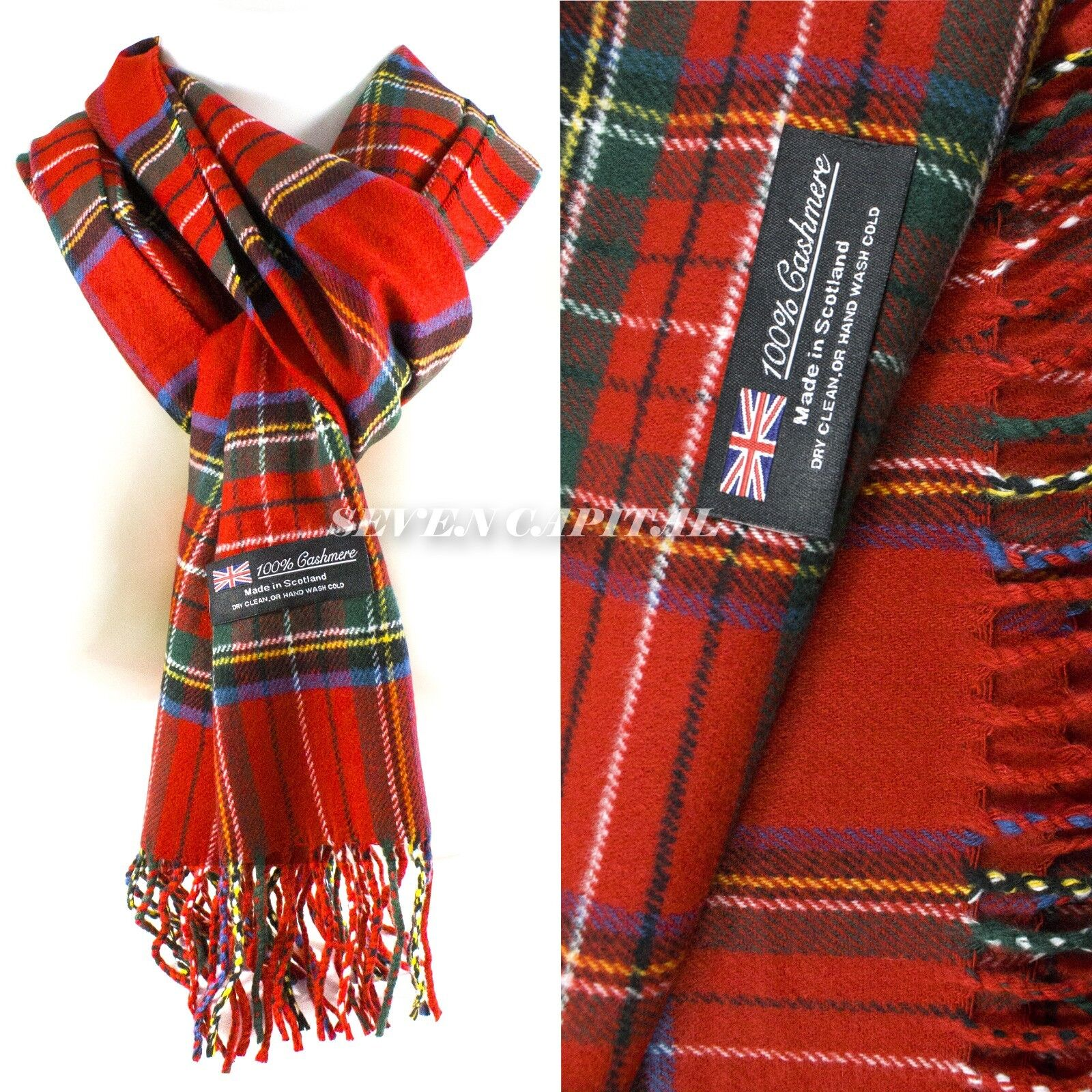 Mens Womens Winter Warm SCOTLAND Made 100% CASHMERE Scarf Scarves Plaid Wool 21.  Plaid: Red