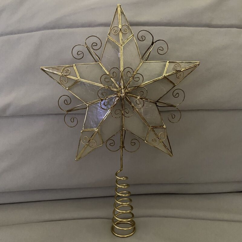 "Vintage Capiz Shell Star Christmas Tree Topper In Box 10.5"""