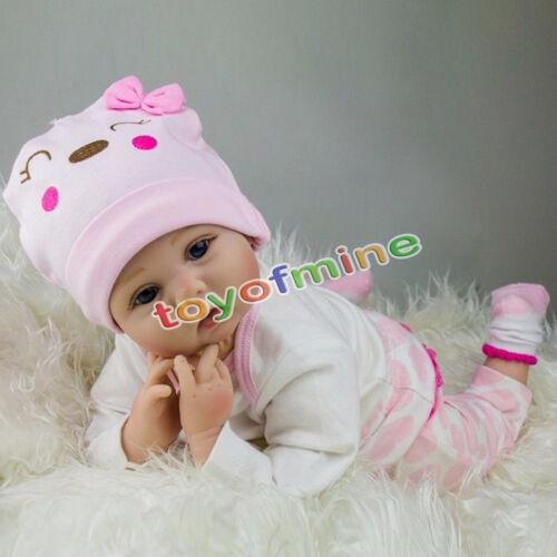 Купить 22Handmade Lifelike Baby Girl Doll Silicone Vinyl Reborn Newborn Clothes Pink