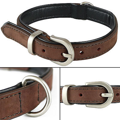 Extra Small Brown Soft Genuine Real Leather Dog/Puppy Pet Collar 27.5cm-35cm XS