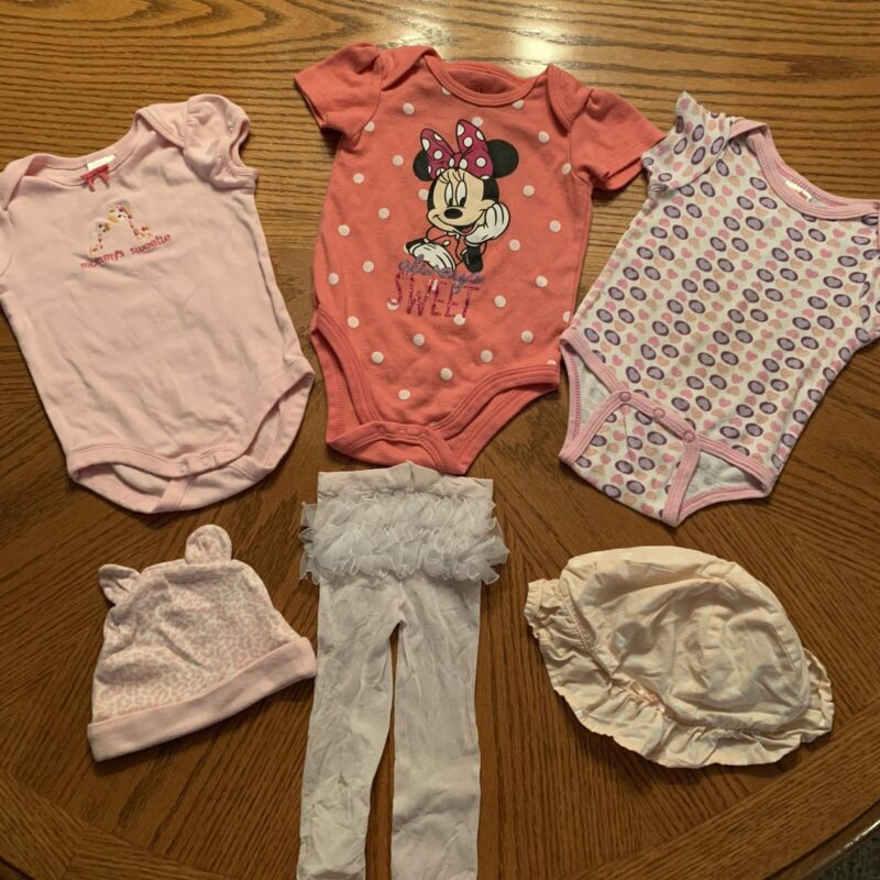 Infant Girl Lot Of 6 Pieces Size 3-6 Months Bodysuits Tights Hats 1 Minnie Mouse