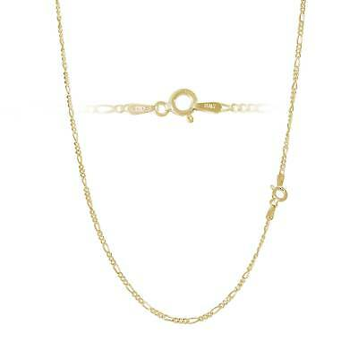 Gold Plated Sterling Silver Figaro Chain Necklace Bracelet Anklet - 2mm Width