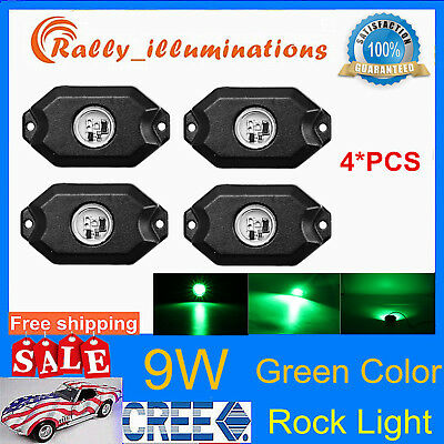 "4X 2"" 9W Green CREE LED Rock Light Off Road Truck 4X4WD Under Body Trail Rig SUV"