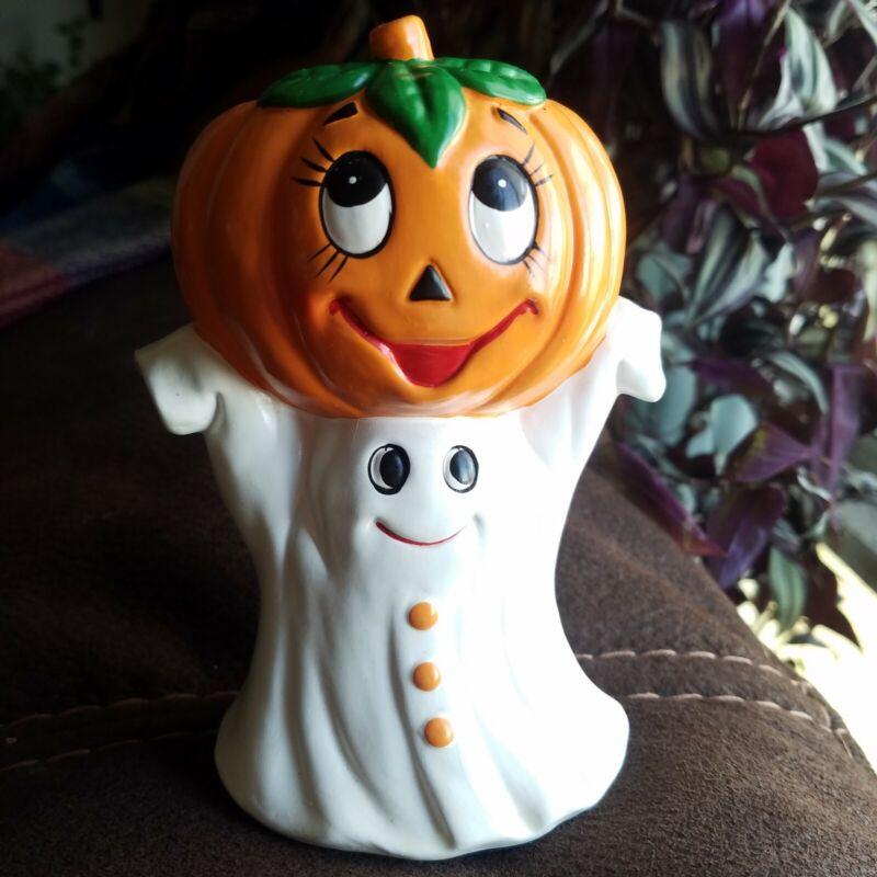 Vtg Lefton Halloween Candleholder Ghost w/ Jack O Lantern Pumpkin 1987
