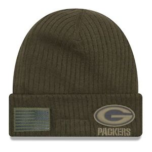 4e3dcbfbd Green Bay Packers 2018 Salute to Service Sideline Cuffed Knit Hat