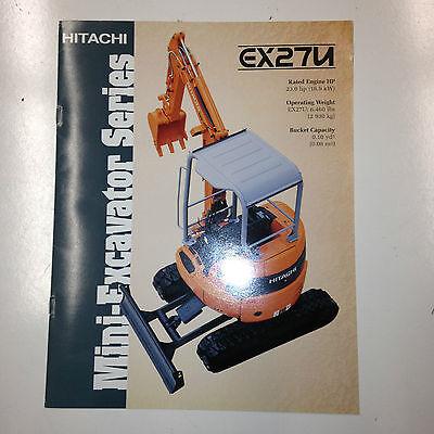 Hitachi Ex27u Mini Hydraulic Excavator Sales Literature Specifications.