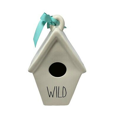 """New RAE DUNN Spring LL """"WILD"""" Birdhouse With Feather On Back By Magenta"""