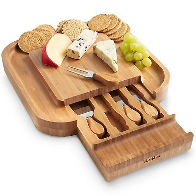 VonShef Square Slide Out Bamboo Cheese Board & 4 Piece Knife Set, 13 x 13 inches