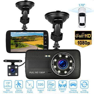 """4""""1080P HD 170°Dual Lens Car DVR Dash Cam G-sensor Recorder With Rearview Camera"""