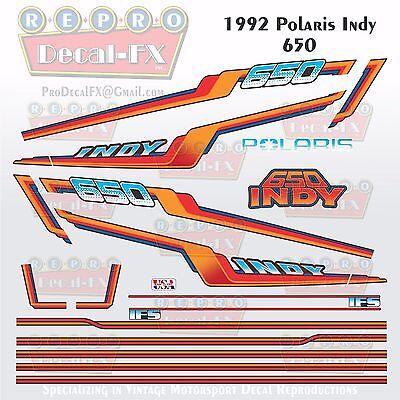 1992 Polaris 650 Indy Graphic Repro 20Pc Vinyl Decal Vintage Snowmobile Stickers