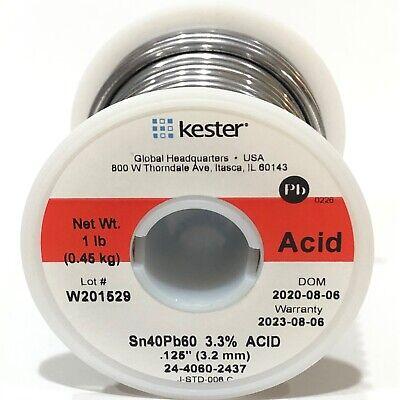 Kester Solder Wire 1 Lb 6040 Lead Sn40pb60 .125 3.3 Acid Core 24-4060-2437