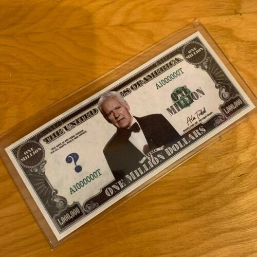 Alex Trebek Jeopardy Million Dollar Bill Game Show Collectible with Case