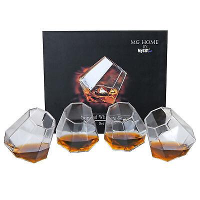 Tilting Whiskey Scotch Glass, Diamond Shape Liquor Snifter (10oz), Set of 4](10oz Glass)