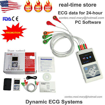 Contec 3-channel 24 Holter Monitor Ecgekg System Pacemaker Analyzer Machineusa