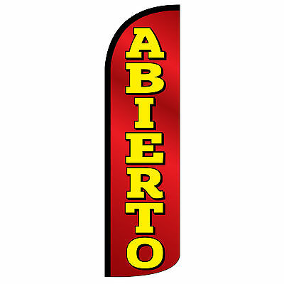 Abierto Open Banner Flag Windless Swooper Feather Tall Sign 3 Wide Red Yellow