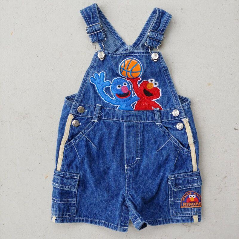 Vintage Sesame Street Short Denim Cargo Overalls Baby Size 18 Months Elmo Grover