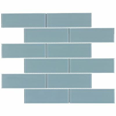 Contemporary Subway Blue Glossy Glass Mosaic Backsplash Tile Kitchen MTO0131 (Glass Mosaic Subway Tiles)