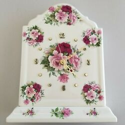 Ceramics By Renate White Flower Floral Design Ceramic Mantle Table Clock 11x9x3