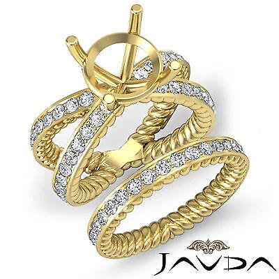 Antique Round Diamond Engagement Ring Bridal Set 14k Gold Yellow SemiMount 1.92C