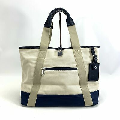 Tumi x Orlebar Brown White and Navy Blue Canvas Pool Tote Small Limited (Orlebar And Brown)