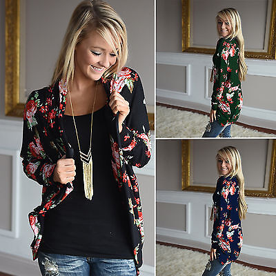 Women's Long Sleeve Floral Cardigan Coat Tops Casual Open Front Jacket Blouse