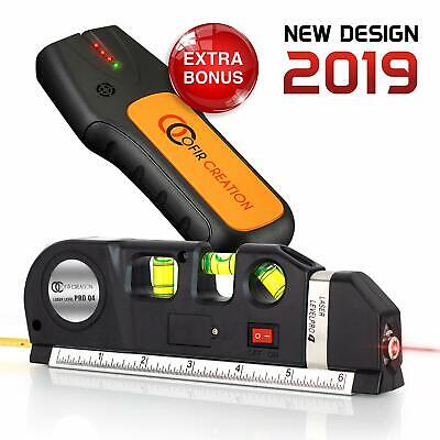 Metric Level - 3-in-1 Multipurpose Laser Level Measuring Tape Aligner Metric Rulers Stud Finder