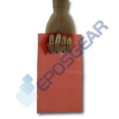 100 Extra Small Red Punch Out Handle Gift Fashion Party Plastic Carrier Bags