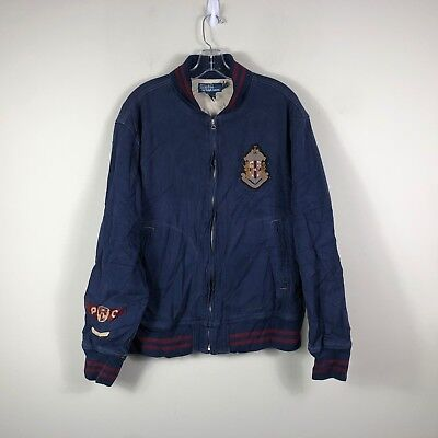 70747288636  282.67 - Vintage Polo Ralph Lauren P Wing Bomber Jacket Men s XL Blue Jacket  1967