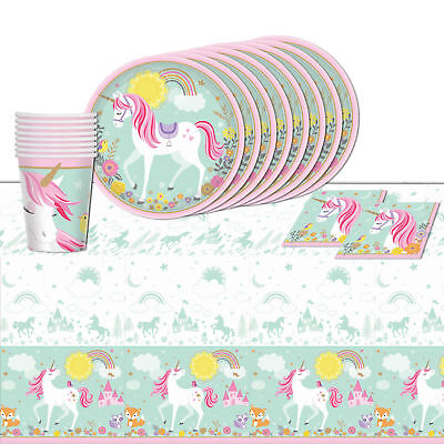 Magical Unicorn Tableware Birthday Party Supply Cup Plates Table cover 33pc ()