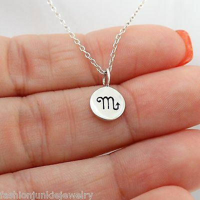 Scorpio Necklace   925 Sterling Silver   Tiny Horoscope Zodiac Charm Jewelry New