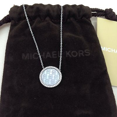 Michael Kors Seasonal Statement Silver Tone MK Logo Necklace Women's New
