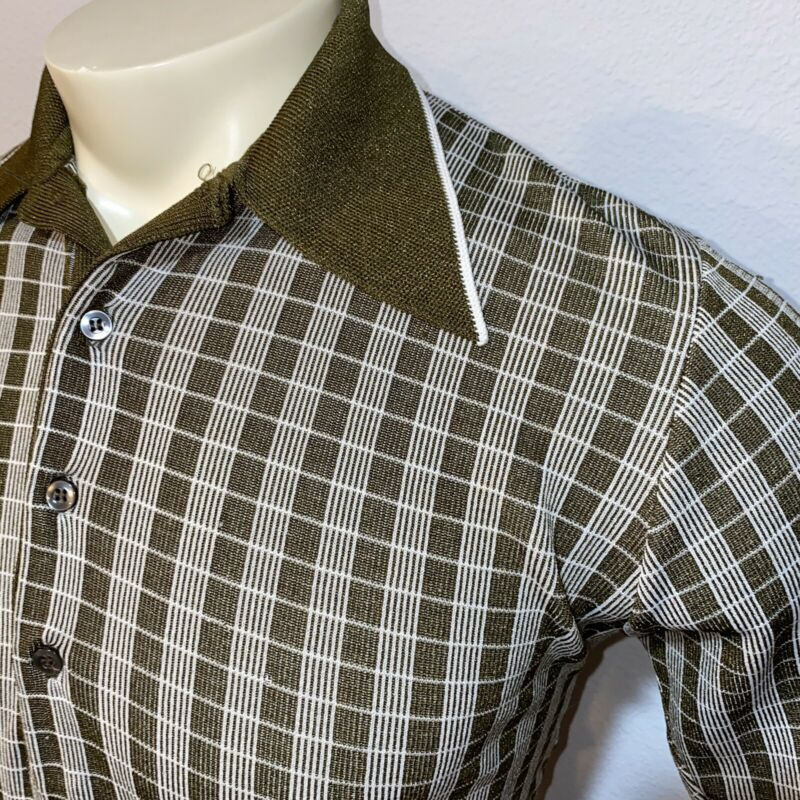 Vtg 60s OLIVE GREEN Short Sleeve Shirt Stretchy Polyester Rat pack MENS MEDIUM