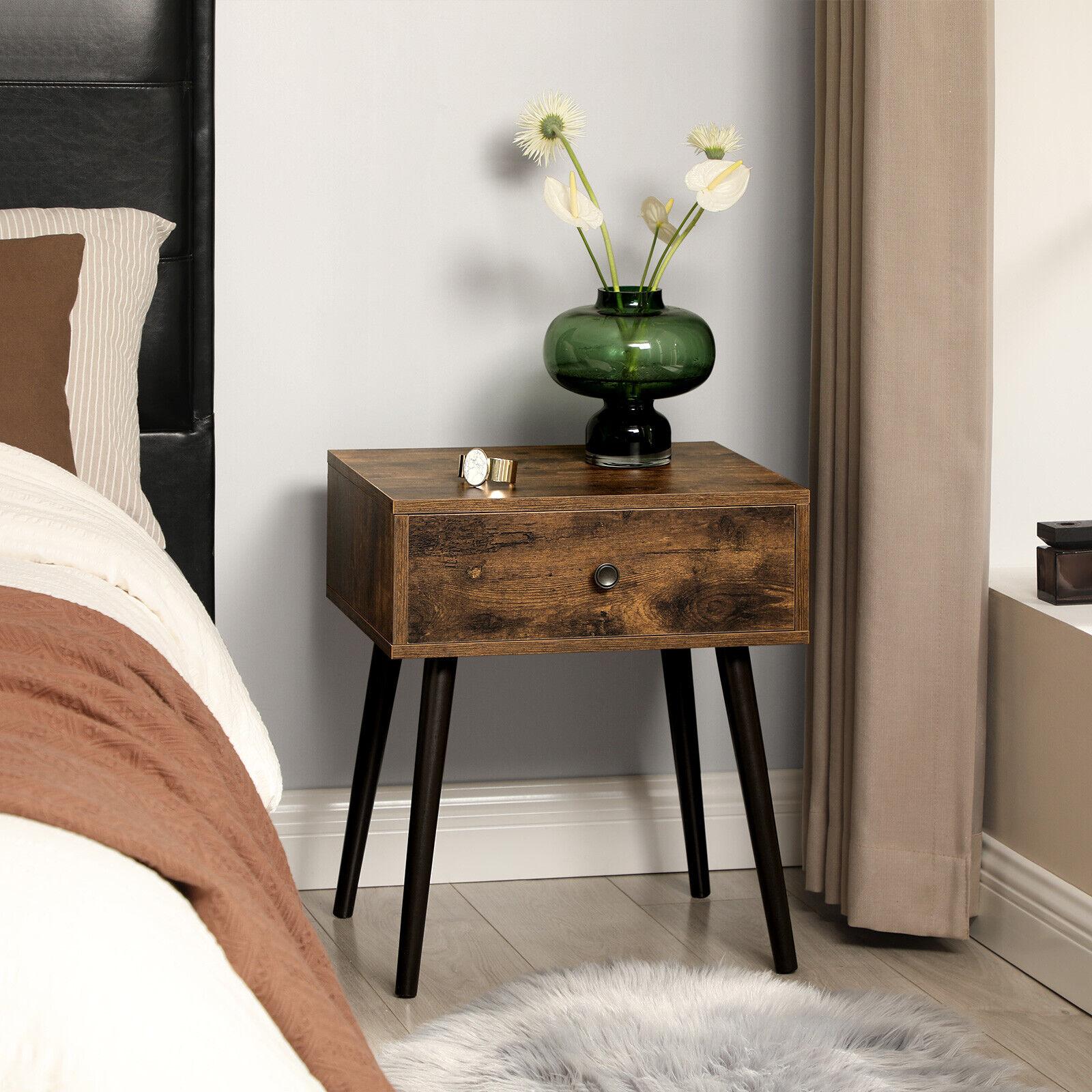 Nachttisch  mit Schublade Beistelltisch Nachtschrank mit Beine Retro LET176B01