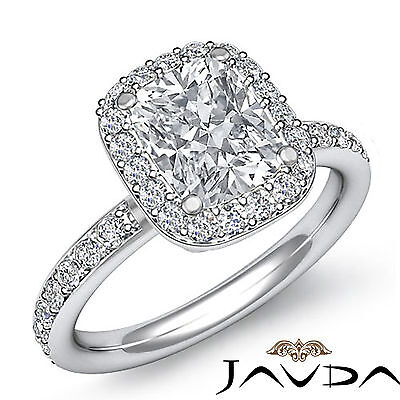 Classic Cushion Diamond Engagement Ring GIA H SI1 Clarity 14k White Gold 1.36 ct