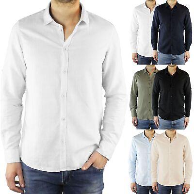 Camicia Uomo Lino Slim Fit Manica Lunga Estiva Sartoriale Elegante Casual