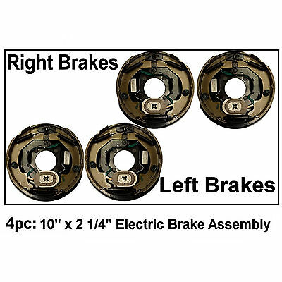 "4pc Electric Trailer Brake 10"" x 2.25"" Assembly Fits Dexter Right & Left 3500 lb"