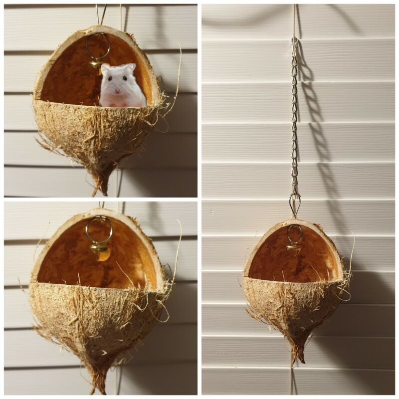 Coconut Hut for Small Animals. Coconut Shell Sleeping Bed  for Hamster